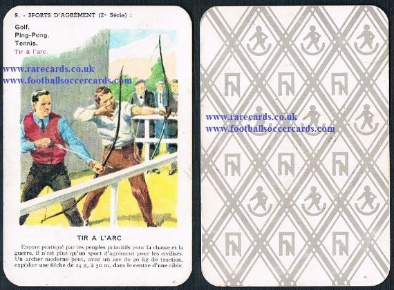 1950s happy families bow & arrow trade game card from France